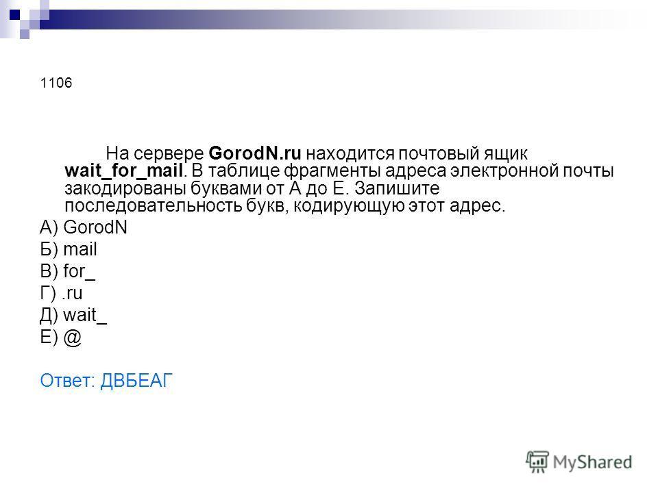 1106 На сервере GorodN.ru находится почтовый ящик wait_for_mail. В таблице фрагменты адреса электронной почты закодированы буквами от А до Е. Запишите последовательность букв, кодирующую этот адрес. А) GorodN Б) mail В) for_ Г).ru Д) wait_ Е) @ Ответ