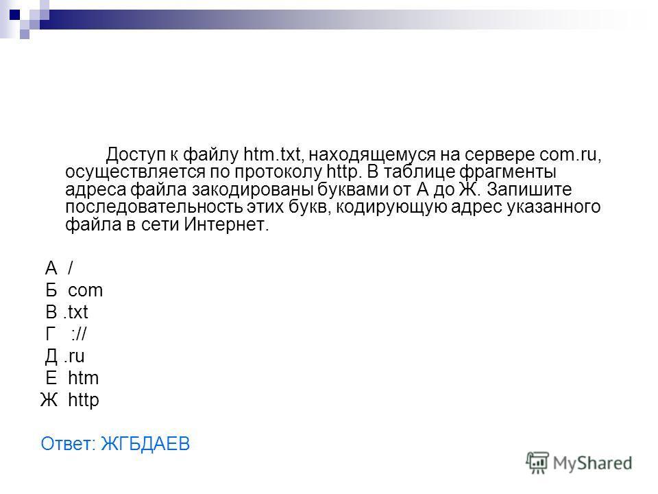 Доступ к файлу htm.txt, находящемуся на сервере com.ru, осуществляется по протоколу http. В таблице фрагменты адреса файла закодированы буквами от А до Ж. Запишите последовательность этих букв, кодирующую адрес указанного файла в сети Интернет. A / Б