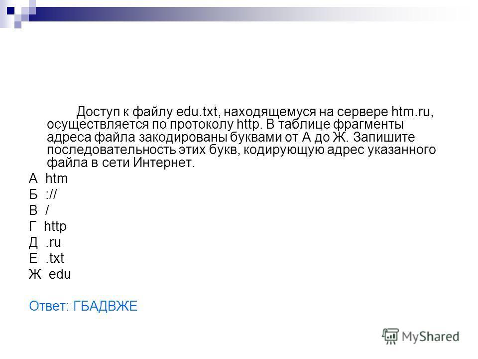 Доступ к файлу edu.txt, находящемуся на сервере htm.ru, осуществляется по протоколу http. В таблице фрагменты адреса файла закодированы буквами от А до Ж. Запишите последовательность этих букв, кодирующую адрес указанного файла в сети Интернет. A htm