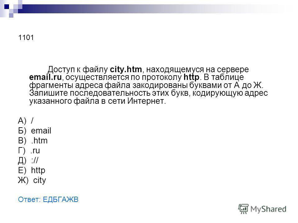 1101 Доступ к файлу city.htm, находящемуся на сервере email.ru, осуществляется по протоколу http. В таблице фрагменты адреса файла закодированы буквами от А до Ж. Запишите последовательность этих букв, кодирующую адрес указанного файла в сети Интерне