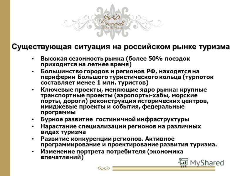 Существующая ситуация на российском рынке туризма Высокая сезонность рынка (более 50% поездок приходится на летнее время) Большинство городов и регионов РФ, находятся на периферии Большого туристического кольца (турпоток составляет менее 1 млн. турис