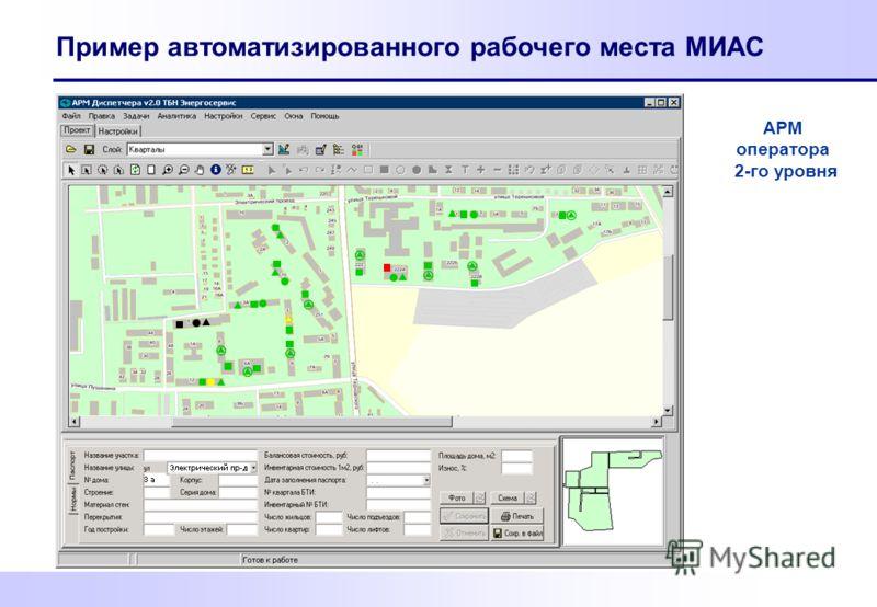 Пример автоматизированного рабочего места МИАС АРМ оператора 2-го уровня