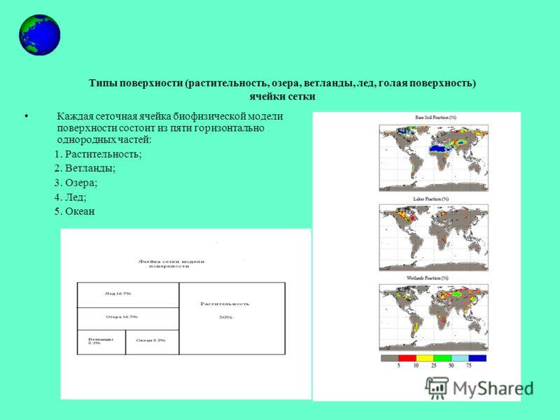 Типы поверхности (растительность, озера, ветланды, лед, голая поверхность) ячейки сетки Каждая сеточная ячейка биофизической модели поверхности состоит из пяти горизонтально однородных частей: 1. Растительность; 2. Ветланды; 3. Озера; 4. Лед; 5. Океа
