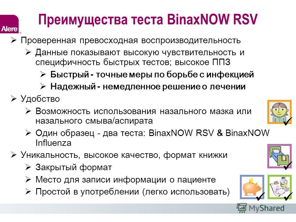 Преимущества теста BinaxNOW RSV Проверенная превосходная воспроизводительность Данные показывают высокую чувствительность и специфичность быстрых тестов; высокое ППЗ Быстрый - точные меры по борьбе с инфекцией Надежный - немедленное решение о лечении