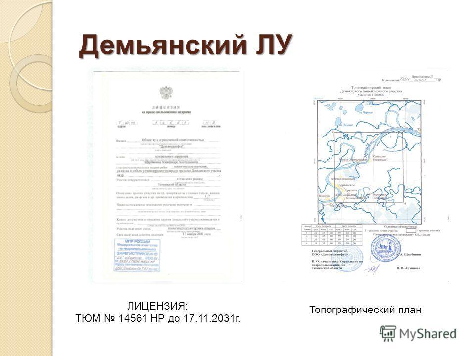 Демьянский ЛУ ЛИЦЕНЗИЯ: ТЮМ 14561 НР до 17.11.2031г. Топографический план