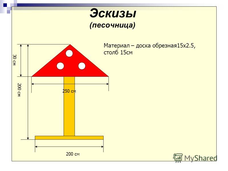 Эскизы (песочница) Материал – доска обрезная15х2.5, столб 15см 200 см 250 см 200 см 30 см