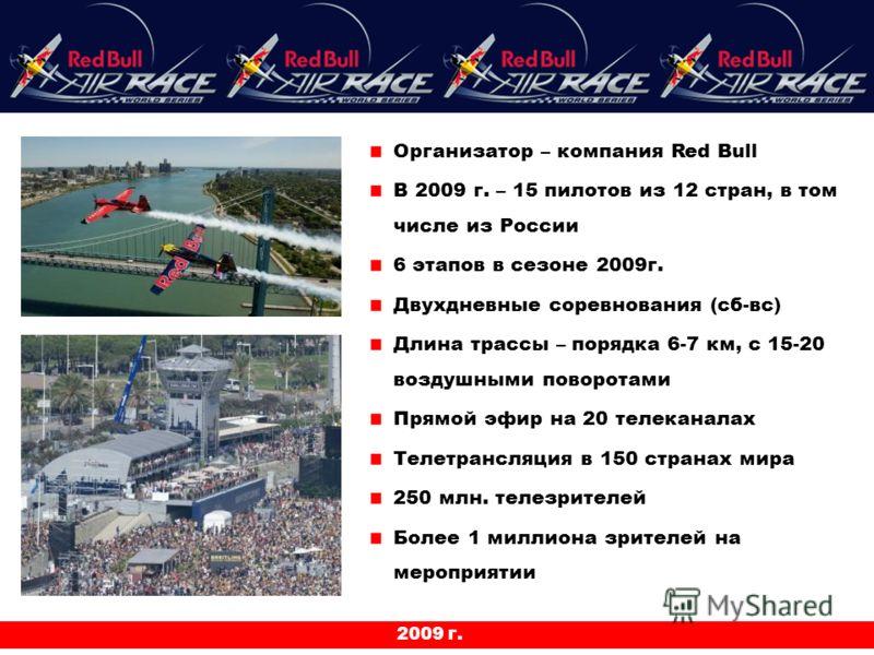 2009 г. Организатор – компания Red Bull В 2009 г. – 15 пилотов из 12 стран, в том числе из России 6 этапов в сезоне 2009г. Двухдневные соревнования (сб-вс) Длина трассы – порядка 6-7 км, с 15-20 воздушными поворотами Прямой эфир на 20 телеканалах Тел