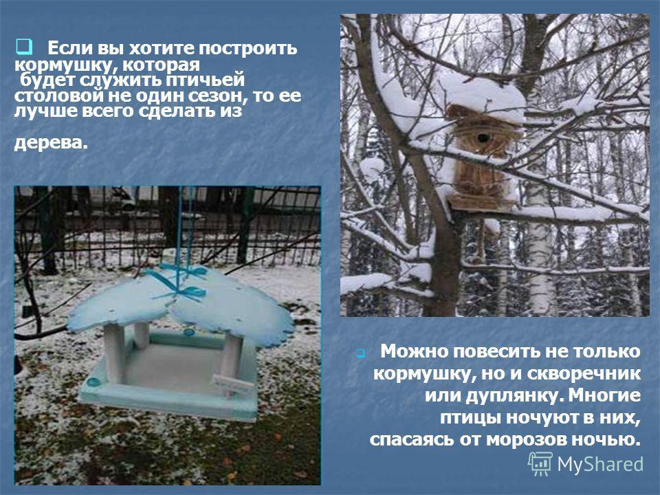 Если вы хотите построить кормушку, которая будет служить птичьей столовой не один сезон, то ее лучше всего сделать из дерева. Можно повесить не только кормушку, но и скворечник или дуплянку. Многие птицы ночуют в них, спасаясь от морозов ночью.