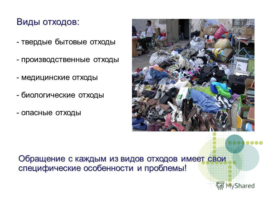 Виды отходов: - твердые бытовые отходы - производственные отходы - медицинские отходы - биологические отходы - опасные отходы Обращение с каждым из видов отходов имеет свои специфические особенности и проблемы!