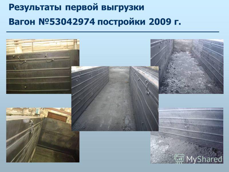Результаты первой выгрузки Вагон 53042974 постройки 2009 г.