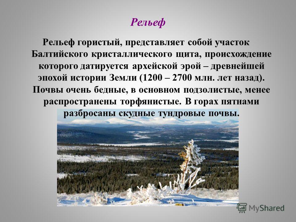 Рельеф гористый, представляет собой участок Балтийского кристаллического щита, происхождение которого датируется архейской эрой – древнейшей эпохой истории Земли (1200 – 2700 млн. лет назад). Почвы очень бедные, в основном подзолистые, менее распрост