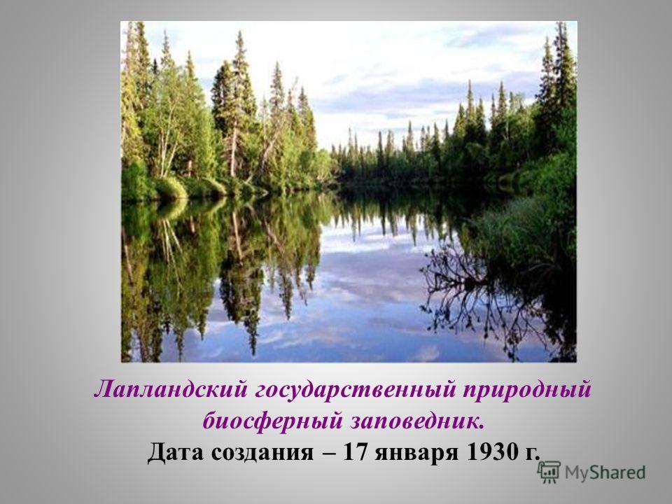 Лапландский государственный природный биосферный заповедник. Дата создания – 17 января 1930 г.