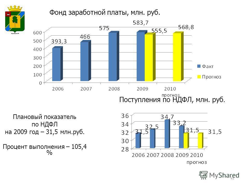 Фонд заработной платы, млн. руб. Поступления по НДФЛ, млн. руб. 45 Плановый показатель по НДФЛ на 2009 год – 31,5 млн.руб. Процент выполнения – 105,4 %
