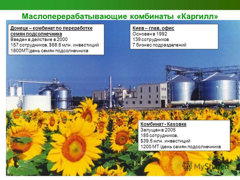 Донецк – комбинат по переработке семян подсолнечника Введен в действие в 2000 157 сотрудников, $68.6 млн. инвестиций 1800MT/день семян подсолнечника Комбинат - Каховка Запущен в 2005 185 сотрудников, $39.5 млн. инвестиций 1200 MT /день семян подсолне
