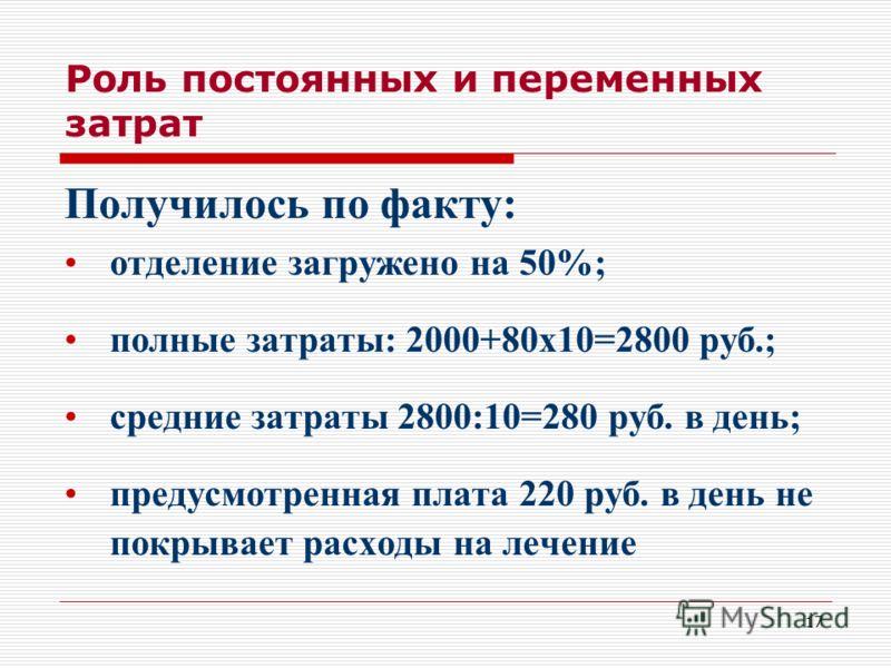17 Роль постоянных и переменных затрат Получилось по факту: отделение загружено на 50%; полные затраты: 2000+80х10=2800 руб.; средние затраты 2800:10=280 руб. в день; предусмотренная плата 220 руб. в день не покрывает расходы на лечение