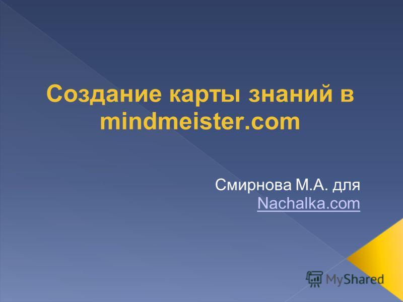 Создание карты знаний в mindmeister.com Смирнова М.А. для Nachalka.com