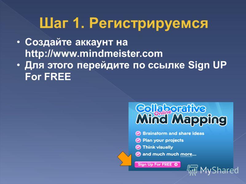 Создайте аккаунт на http://www.mindmeister.com Для этого перейдите по ссылке Sign UP For FREE Шаг 1. Регистрируемся