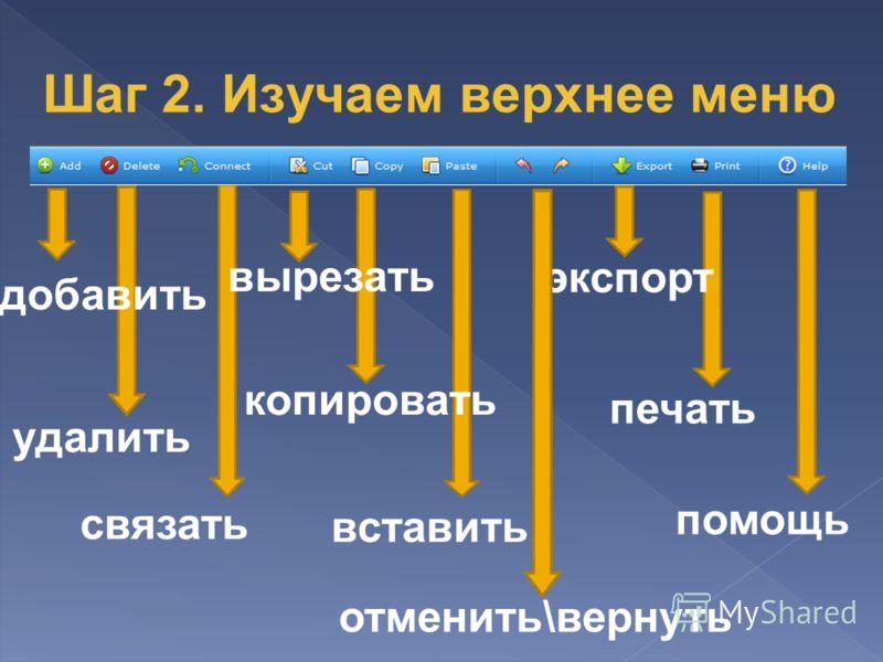 удалить добавить связать копировать вставить отменить\вернуть экспорт печать помощь вырезать Шаг 2. Изучаем верхнее меню