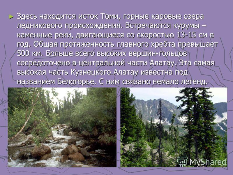 Здесь находится исток Томи, горные каровые озера ледникового происхождения. Встречаются курумы – каменные реки, двигающиеся со скоростью 13-15 см в год. Общая протяженность главного хребта превышает 500 км. Больше всего высоких вершин-гольцов сосредо