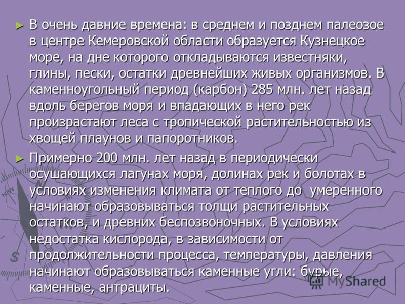 В очень давние времена: в среднем и позднем палеозое в центре Кемеровской области образуется Кузнецкое море, на дне которого откладываются известняки, глины, пески, остатки древнейших живых организмов. В каменноугольный период (карбон) 285 млн. лет н