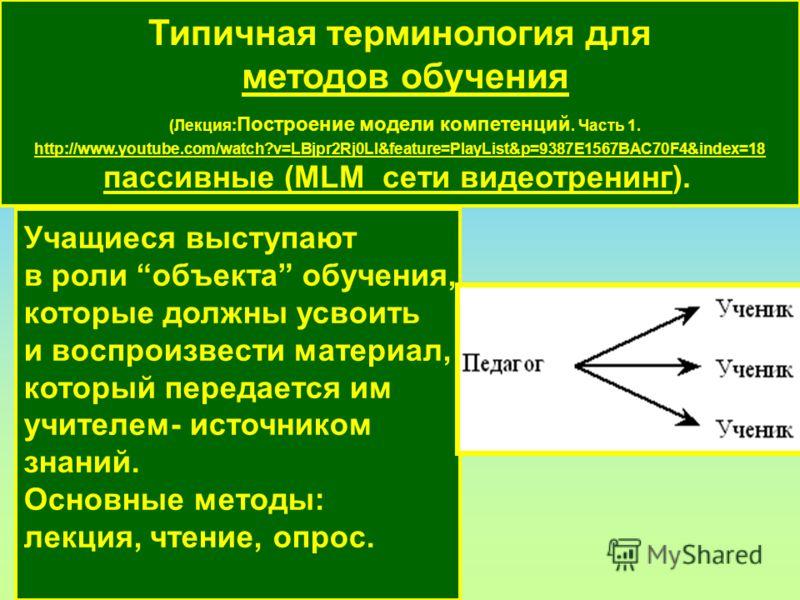 Типичная терминология для методов обучения (Лекция: Построение модели компетенций. Часть 1. http://www.youtube.com/watch?v=LBjpr2Rj0LI&feature=PlayList&p=9387E1567BAC70F4&index=18 пассивные (MLM сети видеотренинг). пассивные (MLM сети видеотренинг Уч