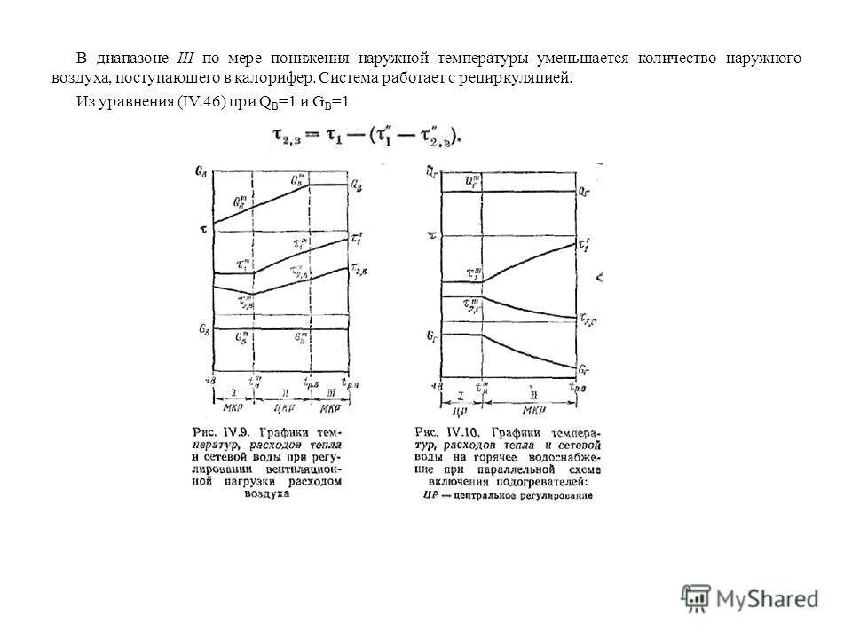 В диапазоне III по мере понижения наружной температуры уменьшается количество наружного воздуха, поступающего в калорифер. Система работает с рециркуляцией. Из уравнения (IV.46) при Q B =1 и G B =1