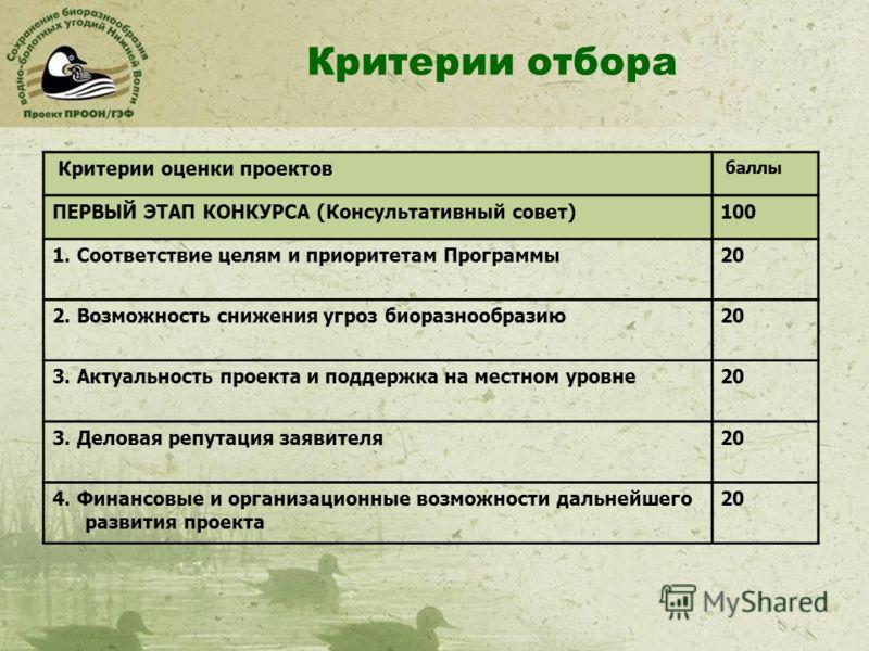 Критерии отбора Критерии оценки проектов баллы ПЕРВЫЙ ЭТАП КОНКУРСА (Консультативный совет)100 1. Соответствие целям и приоритетам Программы20 2. Возможность снижения угроз биоразнообразию20 3. Актуальность проекта и поддержка на местном уровне20 3.