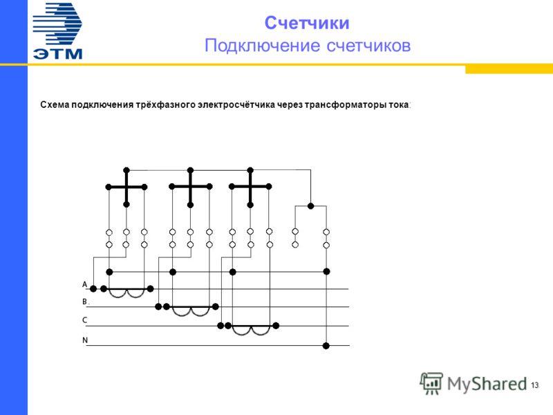 Счетчики Подключение счетчиков Схема подключения трёхфазного электросчётчика через трансформаторы тока: 13