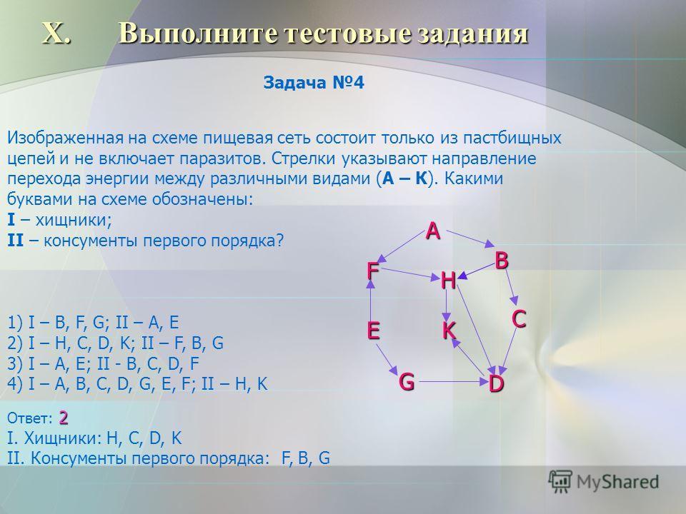 X.Выполните тестовые задания Изображенная на схеме пищевая сеть состоит только из пастбищных цепей и не включает паразитов. Стрелки указывают направление перехода энергии между различными видами (А – К). Какими буквами на схеме обозначены: I – хищник