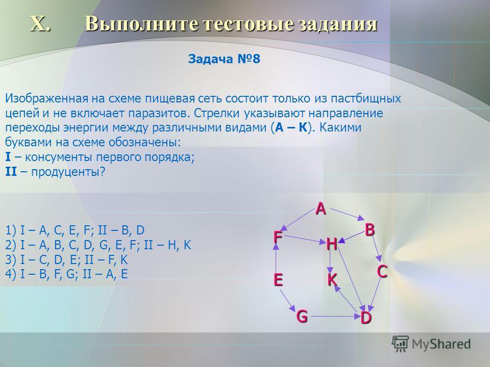 X.Выполните тестовые задания Изображенная на схеме пищевая сеть состоит только из пастбищных цепей и не включает паразитов. Стрелки указывают направление переходы энергии между различными видами (А – К). Какими буквами на схеме обозначены: I – консум