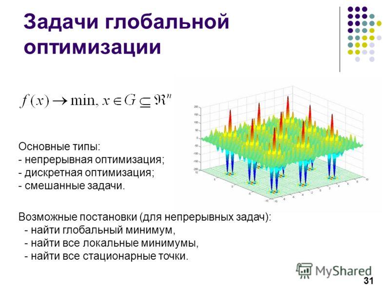 31 Задачи глобальной оптимизации Возможные постановки (для непрерывных задач): - найти глобальный минимум, - найти все локальные минимумы, - найти все стационарные точки. Основные типы: - непрерывная оптимизация; - дискретная оптимизация; - смешанные