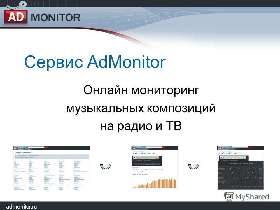 admonitor.ru Сервис AdMonitor Онлайн мониторинг музыкальных композиций на радио и ТВ