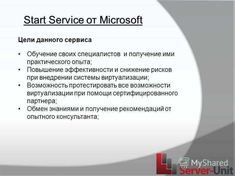 Start Service от Microsoft Цели данного сервиса Обучение своих специалистов и получение ими практического опыта; Повышение эффективности и снижение рисков при внедрении системы виртуализации; Возможность протестировать все возможности виртуализации п