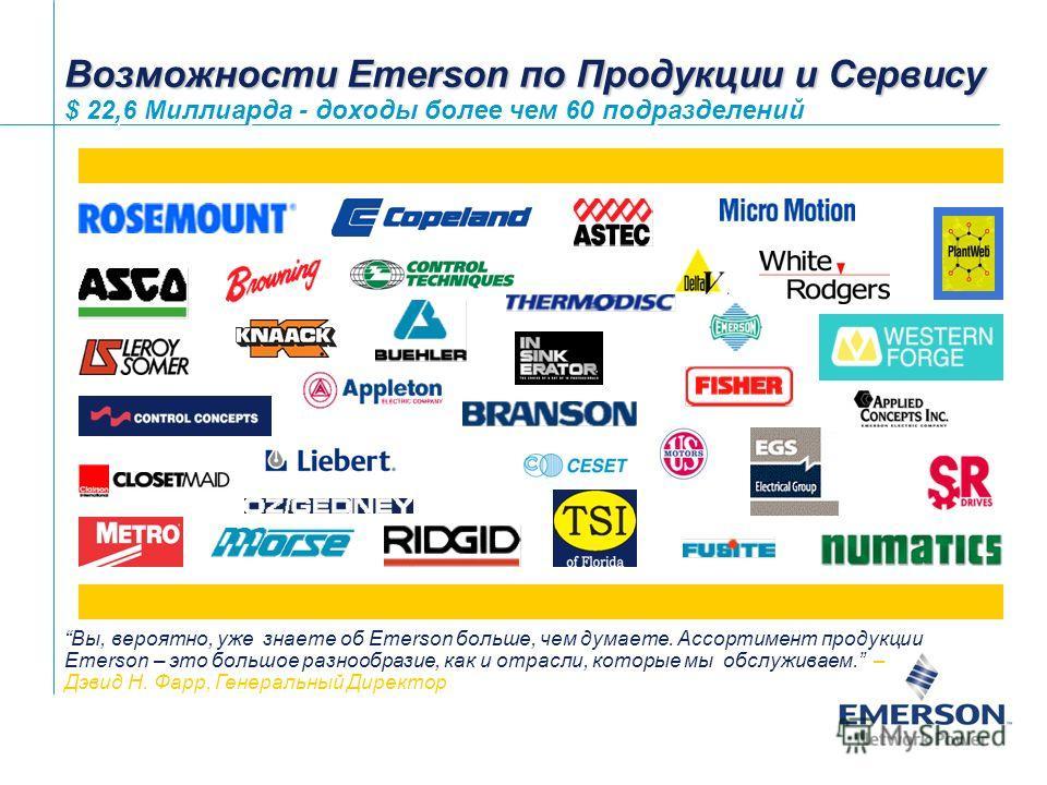 1Emerson Confidential Возможности Emerson по Продукции и Сервису Возможности Emerson по Продукции и Сервису $ 22,6 Миллиарда - доходы более чем 60 подразделений Вы, вероятно, уже знаете об Emerson больше, чем думаете. Ассортимент продукции Emerson –
