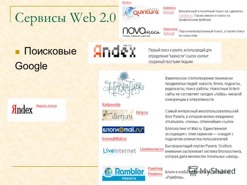 Сервисы Web 2.0 Поисковые Google