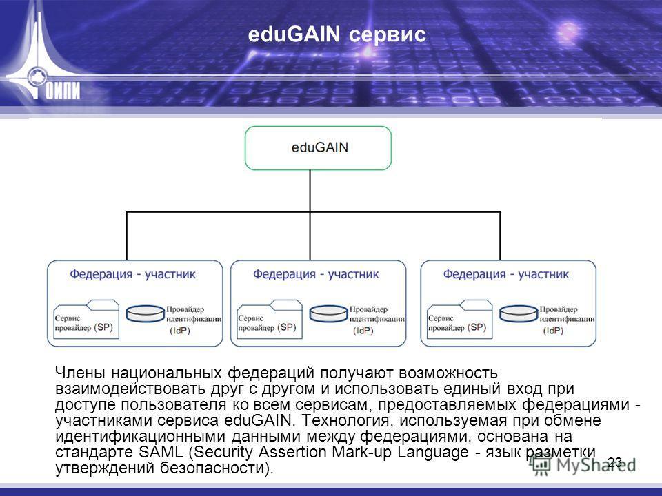 23 eduGAIN сервис Члены национальных федераций получают возможность взаимодействовать друг с другом и использовать единый вход при доступе пользователя ко всем сервисам, предоставляемых федерациями - участниками сервиса eduGAIN. Технология, используе