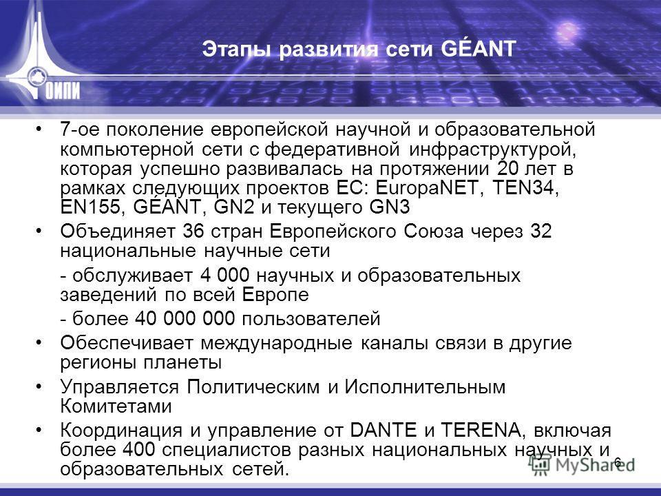 6 Этапы развития сети GÉANT 7-ое поколение европейской научной и образовательной компьютерной сети с федеративной инфраструктурой, которая успешно развивалась на протяжении 20 лет в рамках следующих проектов ЕС: EuropaNET, TEN34, EN155, GÉANT, GN2 и