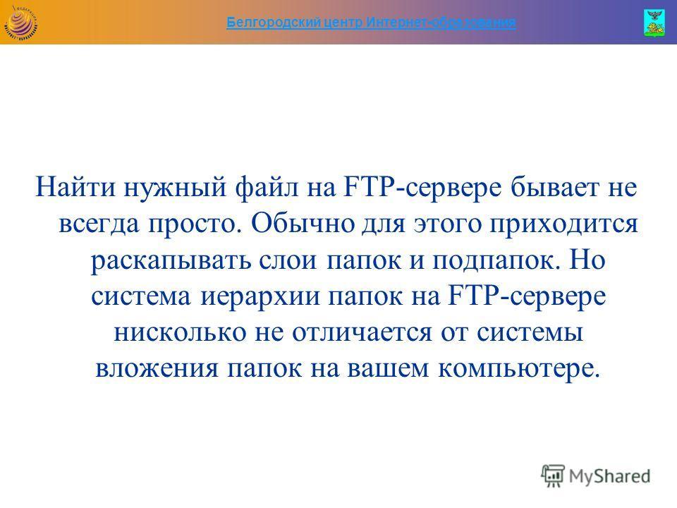 Белгородский центр Интернет-образования Найти нужный файл на FTP-сервере бывает не всегда просто. Обычно для этого приходится раскапывать слои папок и подпапок. Но система иерархии папок на FTP-сервере нисколько не отличается от системы вложения папо