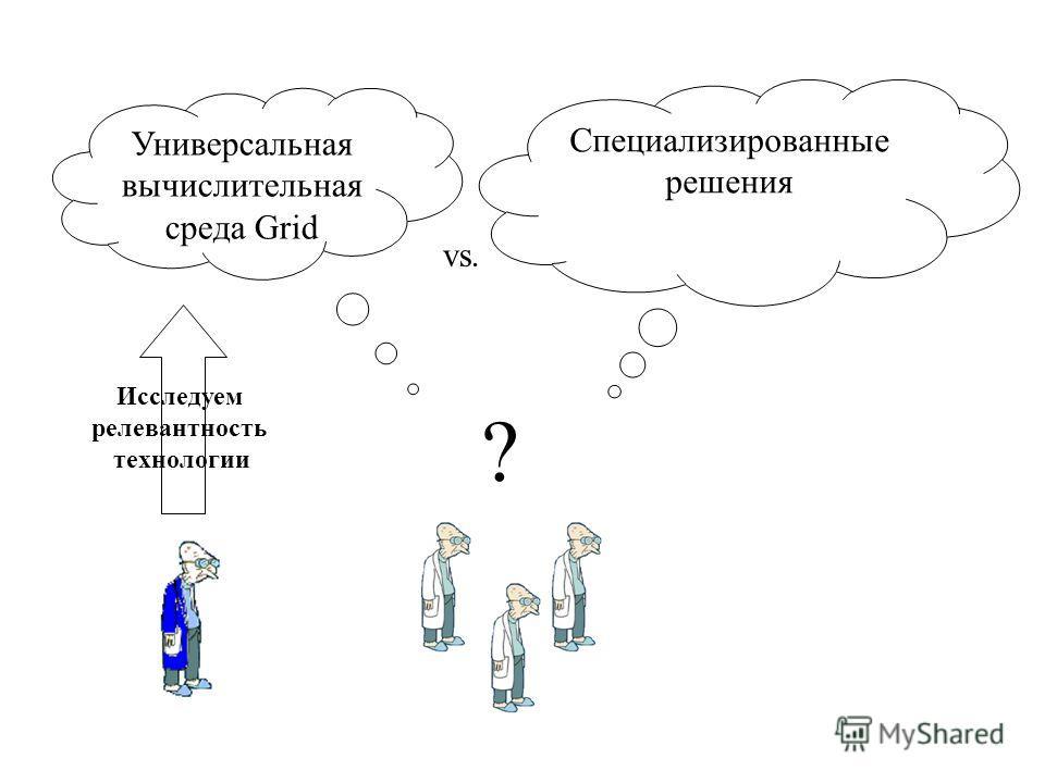 Специализированные решения Универсальная вычислительная среда Grid ? Исследуем релевантность технологии vs.