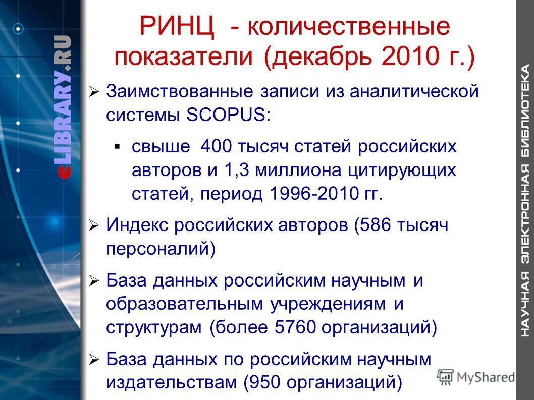 РИНЦ - количественные показатели (декабрь 2010 г.) Заимствованные записи из аналитической системы SCOPUS: свыше 400 тысяч статей российских авторов и 1,3 миллиона цитирующих статей, период 1996-2010 гг. Индекс российских авторов (586 тысяч персоналий