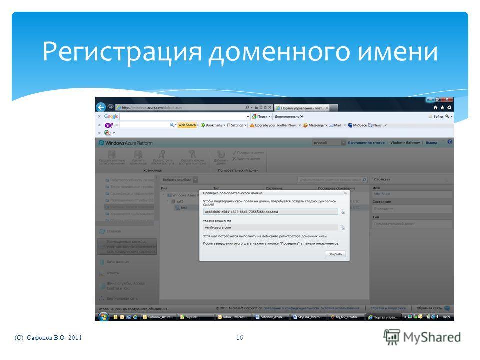 (C) Сафонов В.О. 201116 Регистрация доменного имени