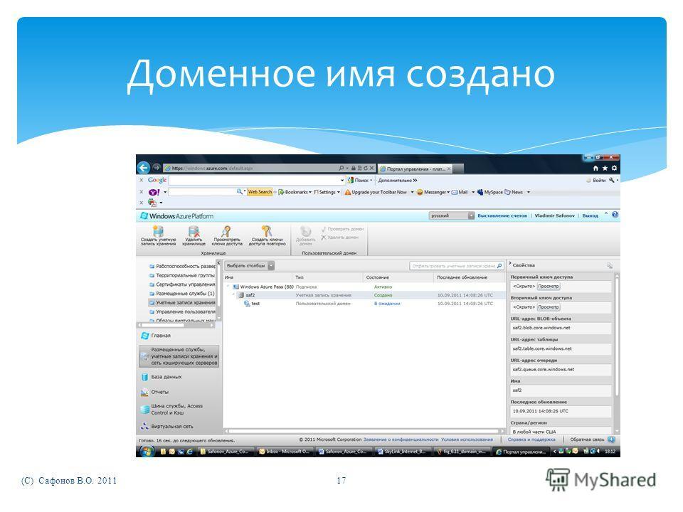 (C) Сафонов В.О. 201117 Доменное имя создано