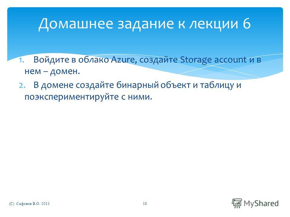 Домашнее задание к лекции 6 1.Войдите в облако Azure, создайте Storage account и в нем – домен. 2.В домене создайте бинарный объект и таблицу и поэкспериментируйте с ними. (C) Сафонов В.О. 201118