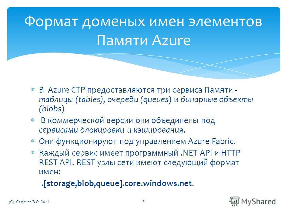 В Azure CTP предоставляются три сервиса Памяти - таблицы (tables), очереди (queues) и бинарные объекты (blobs) В коммерческой версии они объединены под сервисами блокировки и кэширования. Они функционируют под управлением Azure Fabric. Каждый сервис