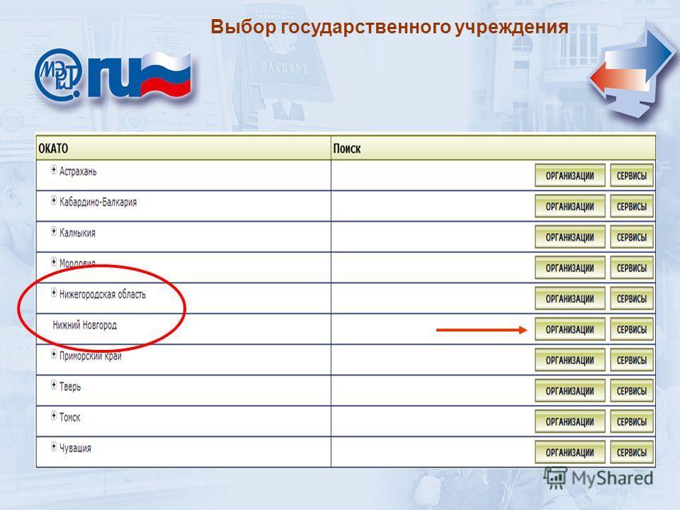 Выбор государственного учреждения