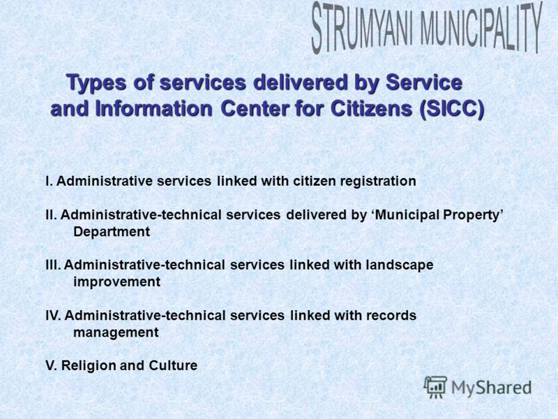 Types of services delivered by Service and Information Center for Citizens (SICC) I. Administrative services linked with citizen registration II. Administrative-technical services delivered by Municipal Property Department III. Administrative-technic