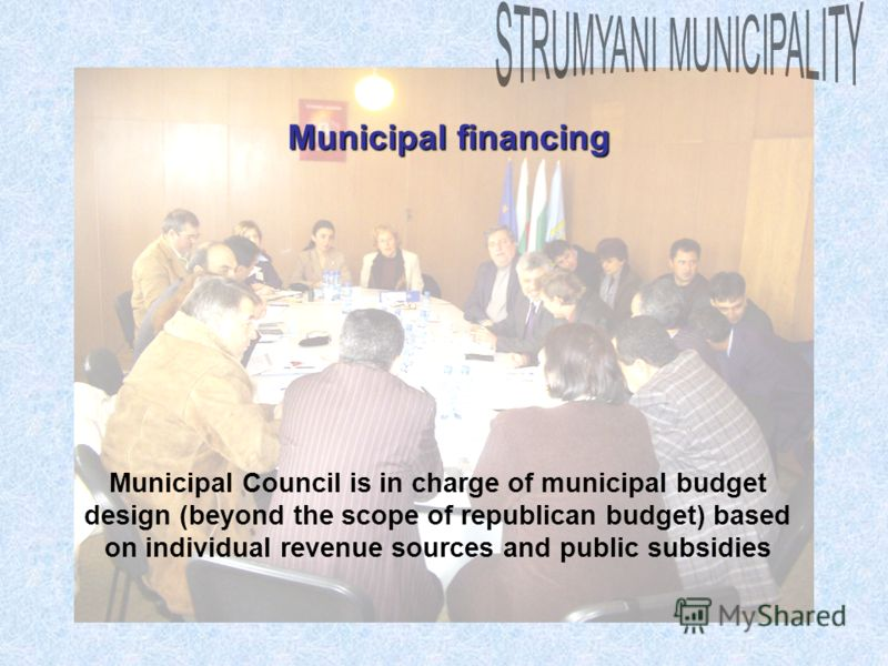 Municipal financing Municipal Council is in charge of municipal budget design (beyond the scope of republican budget) based on individual revenue sources and public subsidies