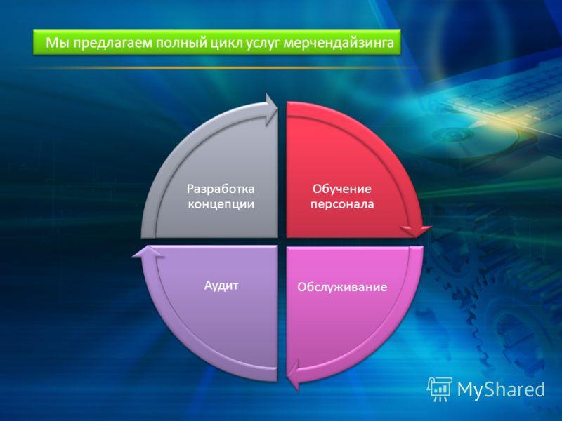 Обучение персонала ОбслуживаниеАудит Разработка концепции Мы предлагаем полный цикл услуг мерчендайзинга