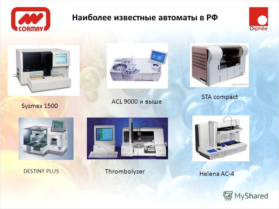 Наиболее известные автоматы в РФ Sysmex 1500 ACL 9000 и выше STA compact DESTINY PLUS Thrombolyzer Helena AC-4