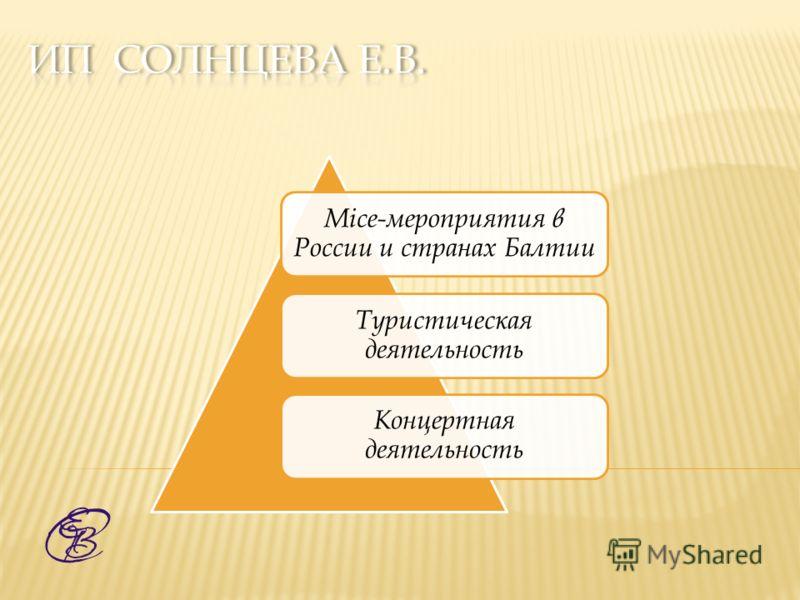 Mice-мероприятия в России и странах Балтии Туристическая деятельность Концертная деятельность